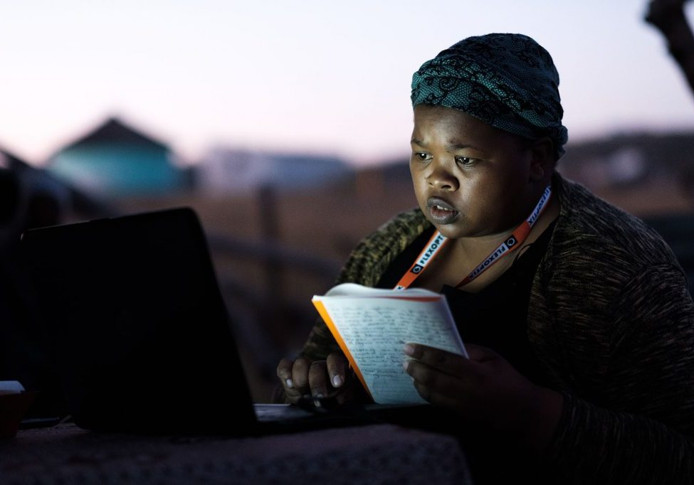A participant at the Internet Society Third Summit on Community Networks in Africa in the village of Zithulele in the Eastern Cape Province of South Africa, on 4 September 2018.